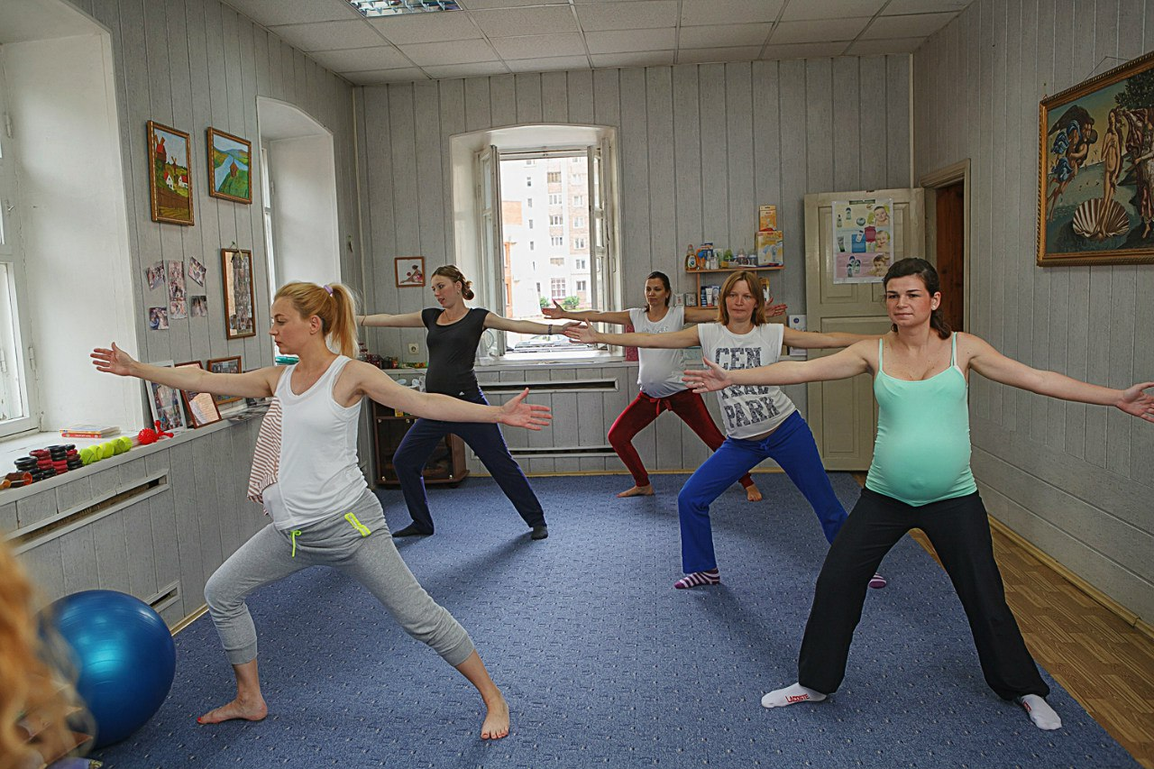 Курсы гимнастики для беременных.